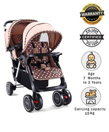 Babyhug Twinster Stroller - Coffee Brown
