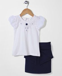 Babyhug Short Sleeves Top And Skirt Lace Detailing - White Navy