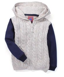 Mothercare Hooded Contrast Sleeves Knit Sweater - White & Navy