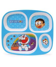 Doraemon 4 Compartment Dinner Plate - Blue And White