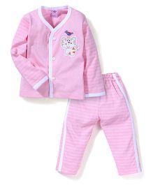 Paaple Striped Full Sleeves Night Suit Set - Pink