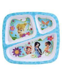 Disney Fairies 3 Section Meal Plate - Blue And White