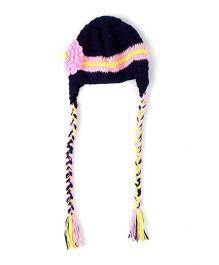 Babyhug Woollen Caps With Floral Appliques - Navy