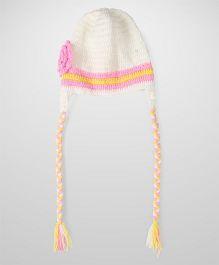 Babyhug Woollen Caps With Floral Appliques - Cream