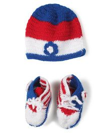 Babyhug Woollen Cap & Booties Set - Red & Blue