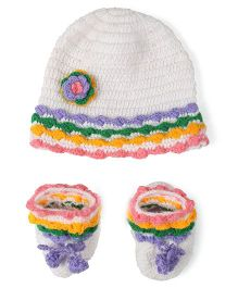 Babyhug Woollen Cap And Booties Set Floral Applique - White