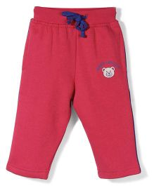 Baby League Track Pants With Drawstring Bear Print - Red