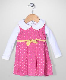 Baby League Sleeveless Frock With Inner Top Hearts Print - Pink And White