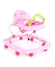 Musical Baby Walker Polka Dot Printed Seat - Pink