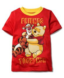 Disney by Babyhug Half Sleeves T-Shirt Friends Together Print - Red