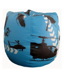 Orka Bean Bag Cover Helicopter Print Blue - Large