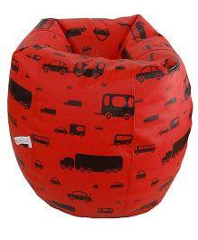 Orka Bean Bag Filled Car Print Red and Black - Large