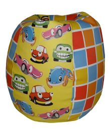 Orka Bean Bag Filled Toy Car Print Multi Color - Large