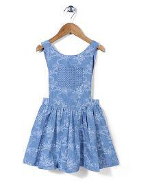 Mothercare Sleeveless Printed Skater Pinny Dress - Denim Blue
