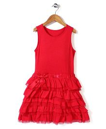 Mothercare Sleeveless Layered Pleat Frock - Red