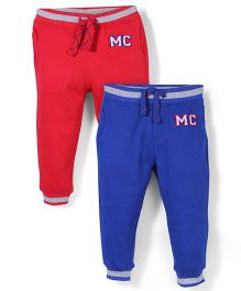 Mothercare Ribbed Waist Track Pant Pack Of 2 - Red & Blue