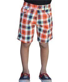 Snowflakes Knee Length Bermuda Checkered Shorts - Orange and Multi Color
