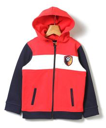 Beebay Full Sleeves Hooded Sweatshirt Logo Badge - Red
