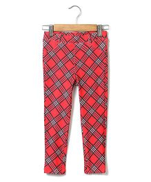 Beebay Full Length Check Jegging - Red