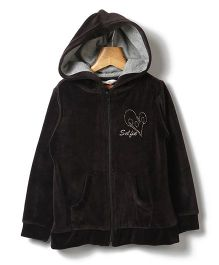 Beebay Full Sleeves Hooded Sweatshirt Embroidery - Black