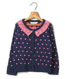 Beebay Full Sleeves Sweater Heart Design - Navy