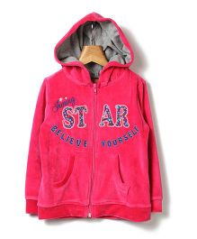 Beebay Full Sleeves Hooded Sweatshirt Embroidery - Pink
