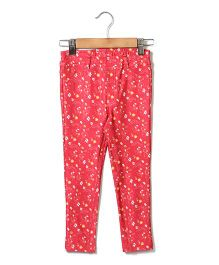 Beebay Full Length Jegging Allover Floral Print - Pink