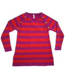 Campana Striped A Line Woolen Dress - Orange Fuchsia