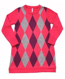 Campana Argyle Pattern Woolen Dress - Pink Purple