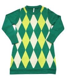 Campana Argyle Pattern Woolen Dress - Neon Yellow Green