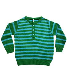 Campana Striped Henley Sweater - Green Blue