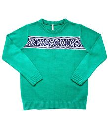 Campana Boys Fair Isle Pullover - Teal Blue Navy White