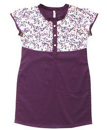 Campana Short Sleeves Kurti With Printed Yoke - Purple