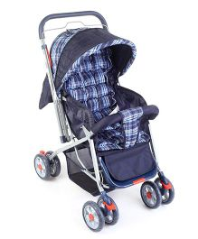 Baby Pram Cum Stroller  Horizontal Checks Print - Navy Blue