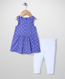 Mothercare Sleeveless Frock And Legging Polka Dots - Blue