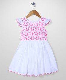 Mothercare Cap Sleeves Frock Embroidered Bodice - White And Pink
