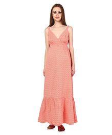 Oxolloxo Sleeveless Maternity Maxi Dress Peach - Small