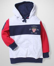 Gini & Jony Full Sleeves Hooded Sweatshirt G&J Varsity Embroidery - Red, Grey and Blue