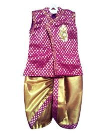 Swini's Baby Wardrobe Kurtha & Dhothi Set - Purple & Gold