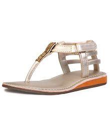 Beanz Party Wear Sandals Studded Detailing - Golden