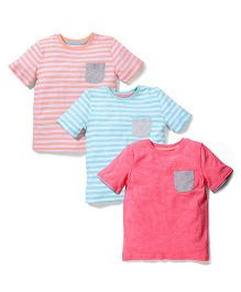 Mothercare Round Neck T-Shirt Pack Of 3 - Green Orange Pink