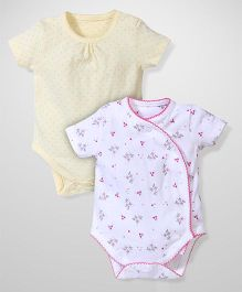 Mothercare Half Sleeves Onesies Pack Of 2 - White And Yellow