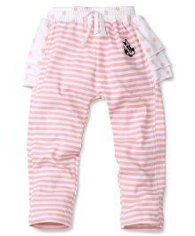 Disney by Babyhug Striped & Dotted Skeggings - Pink & White