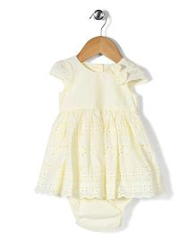 Mothercare Frock With Attached Bloomer Bow Applique - Light Yellow