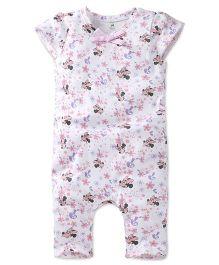 Disney by Babyhug Minnie & Floral Print Cap Sleeves Romper - White