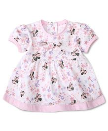 Disney by Babyhug All Over Mickey & Floral Print Frock - Pink & White