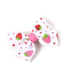 Milonee Strawberry Print Bow Hair Clip - White & Pink