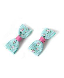 Milonee Floral Print Bow Hair Clip - Sea Green