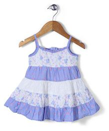 Mothercare Singlet Tiered Patch Frock - Blue & White