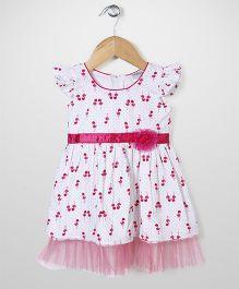 Babyhug Short Sleeves Frock Allover Bird Print - White